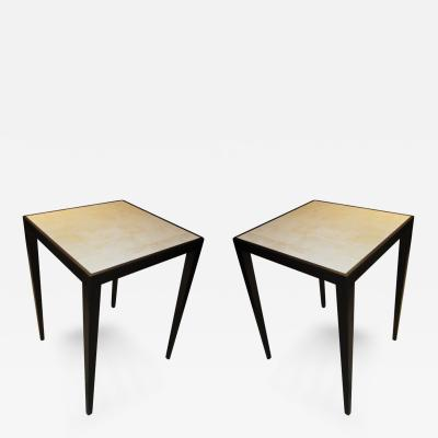 Jean Michel Frank An Exquisite Pair of White Shagreen Top Tables