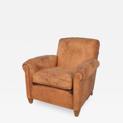 Jean Michel Frank Art Deco French Club Armchair with Distress Brow Leather Club Chair