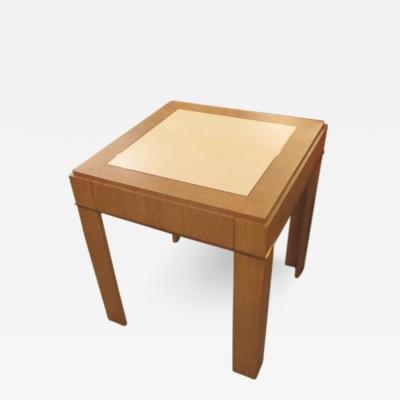 Jean Michel Frank Custom Cerused Oak Side Table with Parchment Top