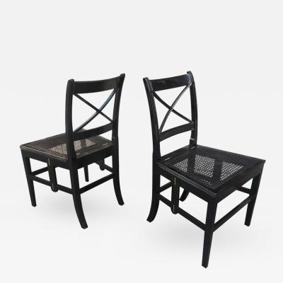 Jean Michel Frank Extraordinary Foldable Pair of Black Caned Chairs in Style of J M Frank