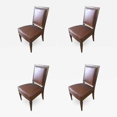 Jean Michel Frank In the Style of J M Frank Set of 4 Neo Classic Mahogany Chairs