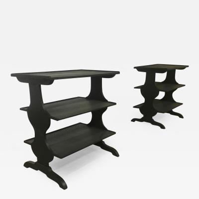 Jean Michel Frank J M Frank attributed Rare Pair of Black 3 Tier Side Tables