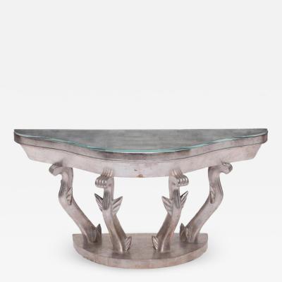 Jean Michel Frank Jean Michel Frank and Alberto Giacometti Art Deco Silver Giltwood Console Table