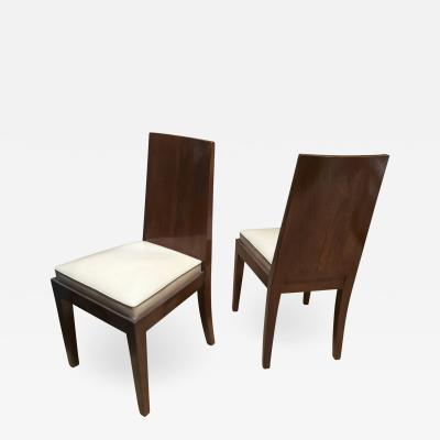 Jean Michel Frank Jean Michel Frank in the style Pair of Walnut Refined Chairs