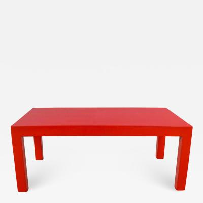 Jean Michel Frank Mcm chinese red painted rectangle parsons coffee table