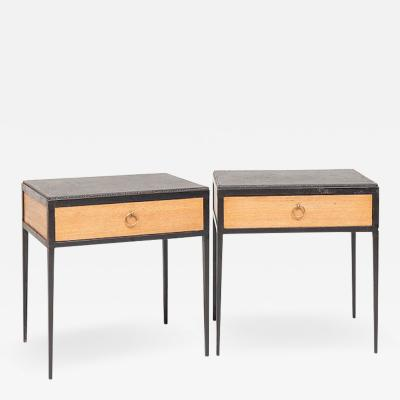 Jean Michel Frank PAIR OF OAK AND LEATHER SIDE TABLES IN THE MANNER OF JEAN MICHEL FRANK