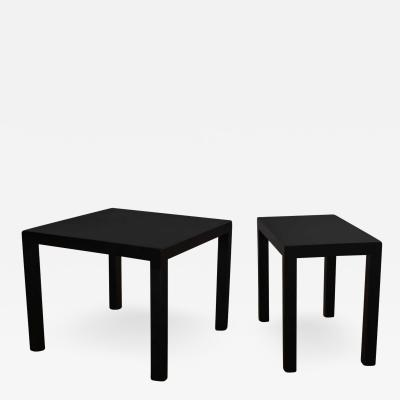 Jean Michel Frank Pair mid century modern black painted parsons side tables 1 square 1 rectangle