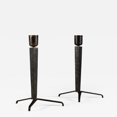 Jean Michel Frank Pair of 1940s painted iron tripod table lamps by Jean Michel Frank