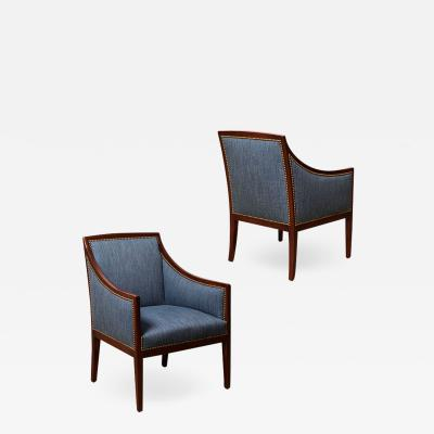 Jean Michel Frank Pair of Armchairs in Mahogany Attributed to Jean Michel Frank
