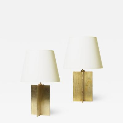 Jean Michel Frank Pair of Crosspiece Table Lamps in Brass by Jean Michel Frank