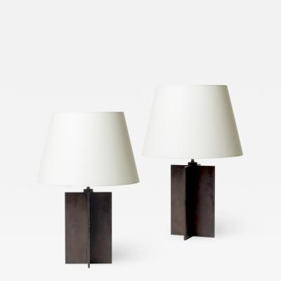 Jean Michel Frank Pair of Crosspiece table lamps