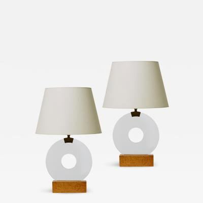 Jean Michel Frank Pair of Disk Table Lamps in Glass and Oak by Jean Michel Frank