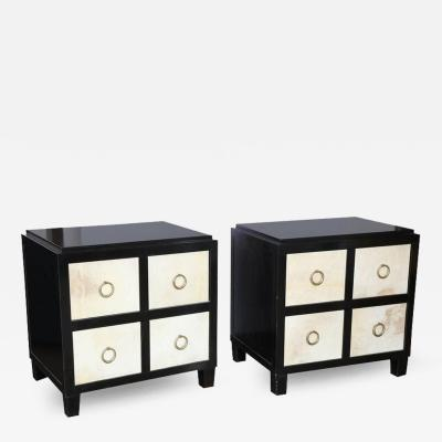 Jean Michel Frank Pair of French Moderne Style Ebonized Wood Vellium Bedside Cabinets