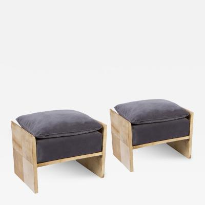 Jean Michel Frank Pair of Parchment Benches in the Manner of Jean Michel Frank