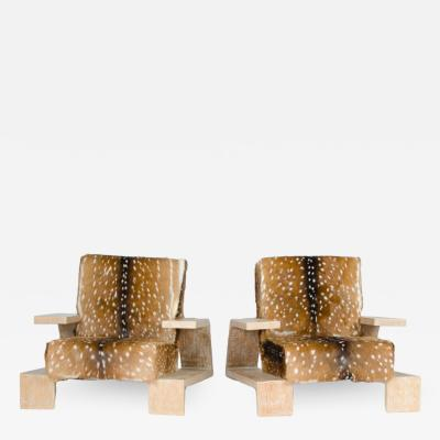 Jean Michel Frank Pair of cerused oak armchairs with deer skin upholstery replicas of chairs