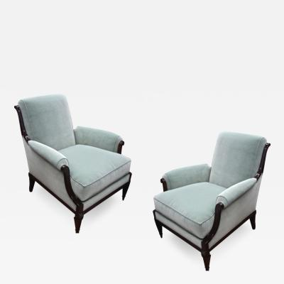 Jean Michel Frank Style of J M Frank Neo Classic Pair of Lounge Chairs Newly Covered in Velvet