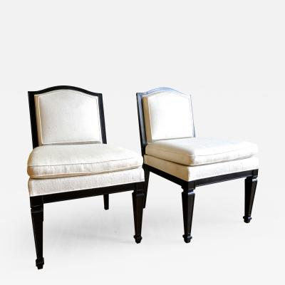 Jean Michel Frank Style of J M Frank Neoclassic Pair of Slipper Chairs Covered in Silk