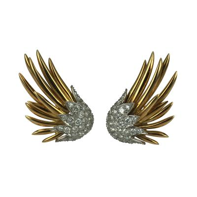 Jean Michel Schlumberger Schlumberger Flame Earrings with diamonds