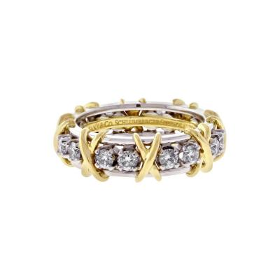 Jean Michel Schlumberger Tiffany Co Schlumberger 16 Stone Diamond Gold X Ring