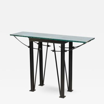 Jean Michel Wilmotte Modern Iron and Mirrored Glass Console Table style of Jean Michel Wilmotte