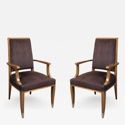 Jean Pascaud Fine Pair of Art Deco Walnut Armchairs by Jean Pascaud