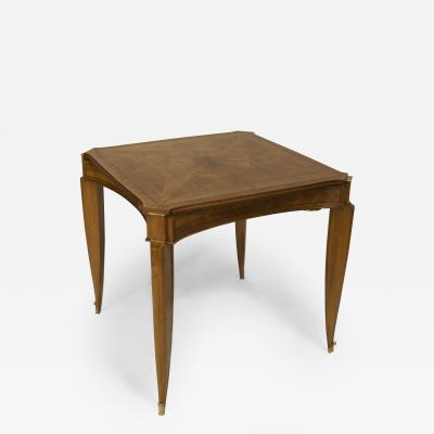Jean Pascaud French Art Deco Light Mahogany Square Game Table