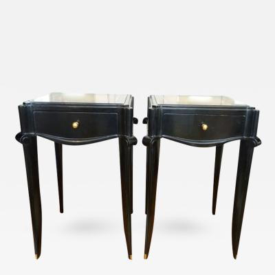 Jean Pascaud Jean Pascaud Black Varnish and Gold Sabot Side Table