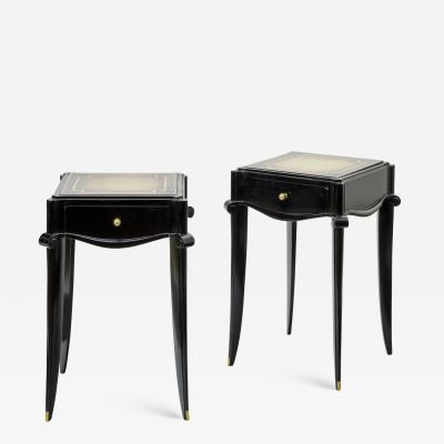 Jean Pascaud Jean Pascaud Black lacquered and Gold Sabot bedside or Side Table
