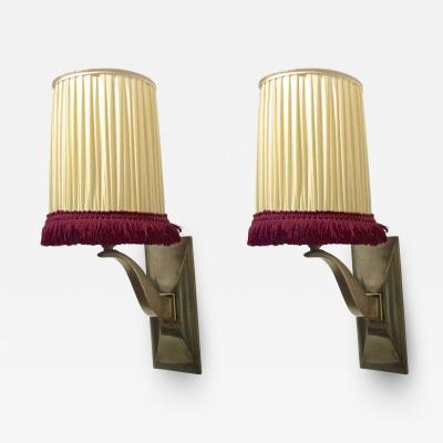 Jean Pascaud Jean Pascaud Chicest Pair of Gold Bronze Sconces