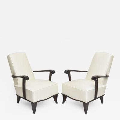 Jean Pascaud Jean Pascaud Pair of French Modern Rosewood and Upholstered Armchairs 1940s