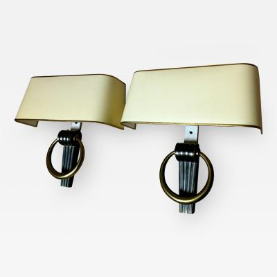 Jean Pascaud Jean Pascaud Refined Gold Bronze Neoclassic Pair of Sconces