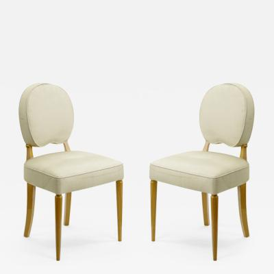Jean Pascaud Jean Pascaud pair of sycamore lady vanity side chairs