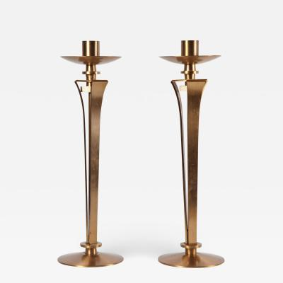 Jean Pascaud Pair of Bronze Candleholders by Jean Pascaud