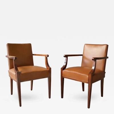 Jean Pascaud Pair of Fine French Art Deco Mahogany Bridge Chairs attributed to Pascaud