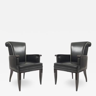 Jean Pascaud Pair of French Mid Century Bergere Arm Chairs