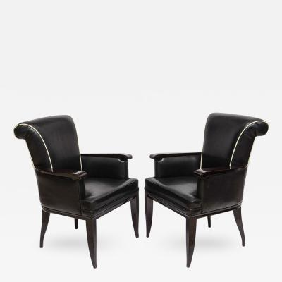 Jean Pascaud Pair of Late Art Deco Ebony De Macassar and Leather Armchairs Jean Pascaud