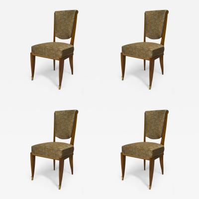 Jean Pascaud Set of 4 French Art Deco Light Mahogany Side Chairs