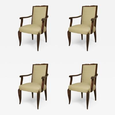Jean Pascaud Set of 4 French Art Deco style 1950s Mahogany Stained Open Armchairs