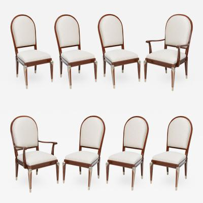 Jean Pascaud Set of Eight Jean Pascaud Mahogany and Silvered Bronze Mounted Dining Chairs