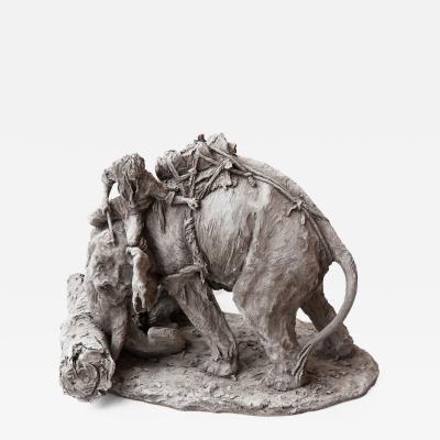 Jean Paul Gourdon INDIAN ELEPHANT WITH A MAHOUT IN GREY TERRACOTTA by Jean Paul Gourdon born 1956
