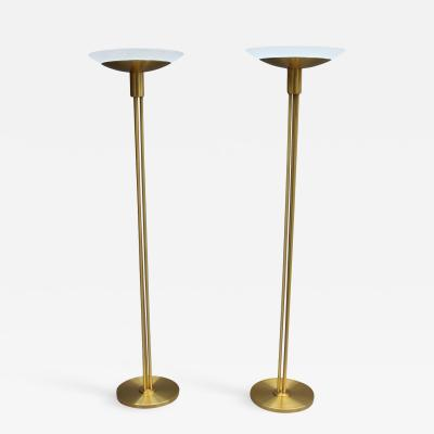 Jean Perzel 2 Fine French Mid Century Bronze and Glass Floor Lamps by Perzel
