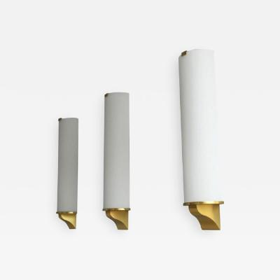 Jean Perzel 3 Fine French Art Deco Semi Cylinder Glass and Bronze Sconces by Jean Perzel