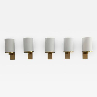 Jean Perzel 5 Fine French Art Deco Glass and Bronze Cylindrical Sconces by Jean Perzel