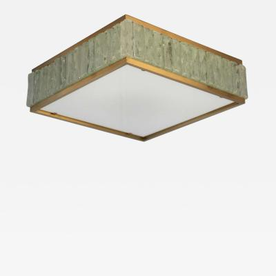 Jean Perzel Fine 1950 s Brass and Glass Square Queen Necklace Ceiling Light by Perzel