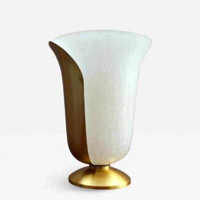 Jean Perzel Fine French 1950s Satin Brass and White Craquel Glass Table Lamp by Perzel