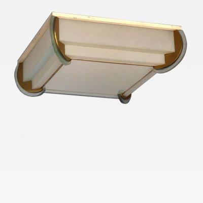 Jean Perzel Fine French Art Deco Bronze and Glass Flush Mount by Jean Perzel