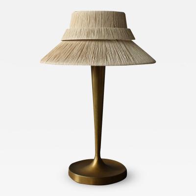 Jean Perzel Fine French Art Deco Bronze and Raphia Table Lamp by Perzel