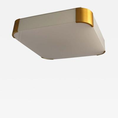 Jean Perzel Fine French Art Deco Glass and Bronze Square Ceiling or Wall Light by Perzel