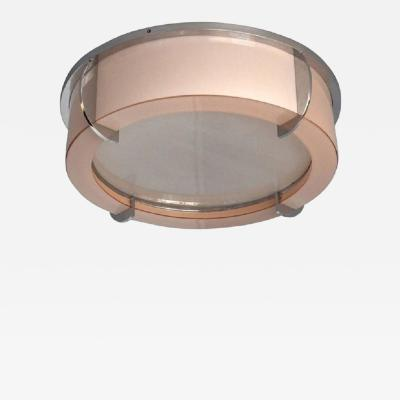 Jean Perzel Fine Rare French Art Deco Pink and White Glass Ceiling Light by Perzel