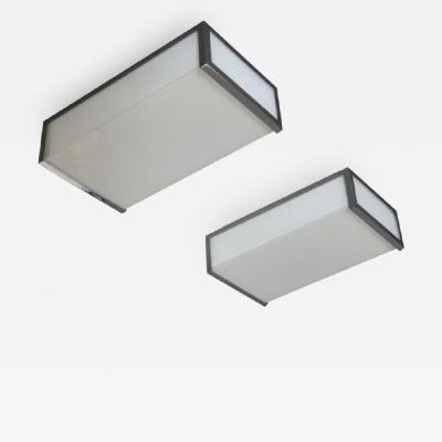 Jean Perzel PAIR OF SMALL FINE FRENCH ART DECO RECTANGULAR FLUSH MOUNTS BY PERZEL